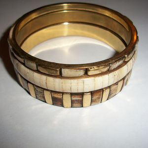 Jewelry - Carved Bone Gold Tone Bangles Bracelet Lot